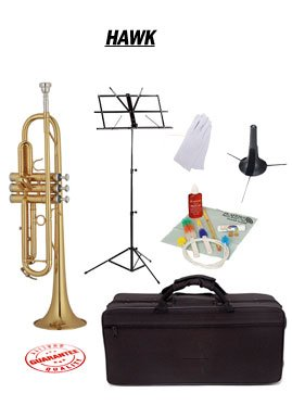 Hawk Lacquer Bb Trumpet School Package with Case Music Stand Trumpet Stand and Cleaning Kit WD-T311-PACK by Hawk