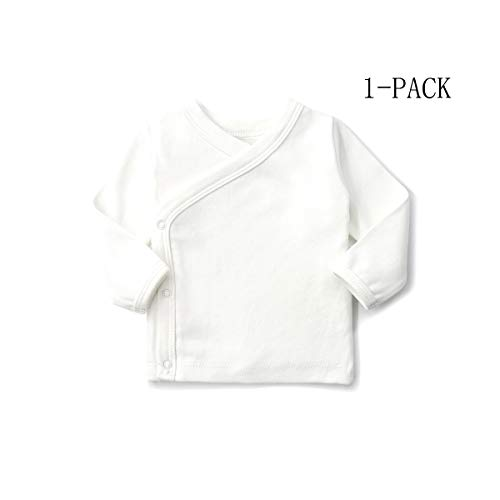 SYCLZ Unisex-Baby 100% Cotton Long Sleeve Side-Snap Shirts Soild Color Kimono Tees 0-12M (0-3M, White) 2 Side White T-shirt