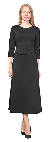 Marycrafts Women's A Line Shirt Midi Skirt Suit Set Office Work Day 14 Black (Black Midi Set)
