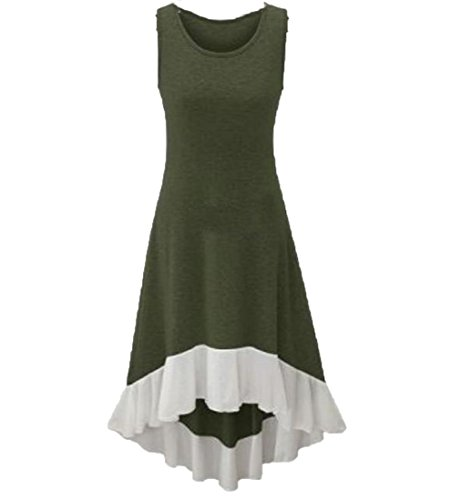 XQS Women's Hipster Fairy Fitted Solid Irregular Tunic Top Dress Army Green XL (Green Fairy Dress)