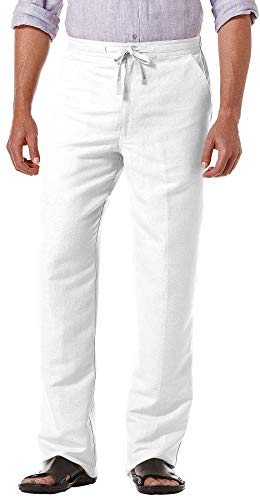 Drawstring Pant with Back Elastic Waistband, Bright White, Medium x 30L