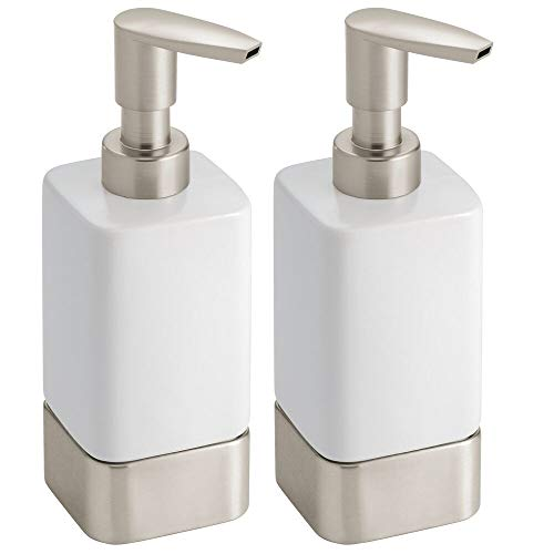 - mDesign Modern Square Ceramic Refillable Liquid Hand Soap Dispenser Pump Bottle for Kitchen, Bathroom, Powder Room - Great for Hand Sanitizer, Dish Soap & Essential Oils - 2 Pack - White/Satin