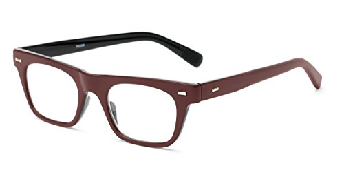 Readers.com The Madden +2.00 Burgundy Retro Square Style Thick Frame Reading - Red Glasses Square Framed