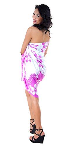 1mundo pareos Bañador para cover-up diseño de Plumeria–Pareo de las mujeres en su elección de color Lavanda