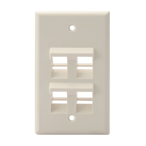 (Leviton 41081-4TP Angled QuickPort Wallplate 4-Port, Single Gang, Light Almond)