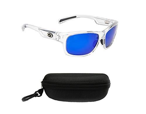 Strike King Jordan Lee Signature Polarized Sunglasses, UVA/UVB Protection, Shiny Crystal Clear Frame, Multi-Layer White Blue Mirror Gray Base Lens with Black ()