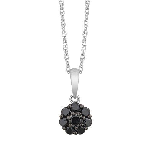 Jewelili femme  9carats (375/1000)  Or blanc|#Gold Rond   Noir Diamant
