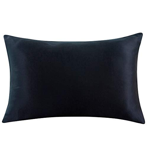 ZIMASILK-100-Mulberry-Silk-Pillowcase-for-Hair-and-SkinBoth-Side-19-Momme-Silk-1pc-Queen-20×30-Black