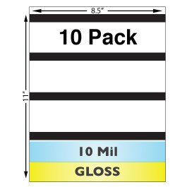 10 Mil Gloss Full Sheet Laminates with 1/2