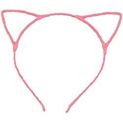 Tinksky Cute Fancy Cat Ears Headband Hair Clips for Dress Costume Party (Light Pink)