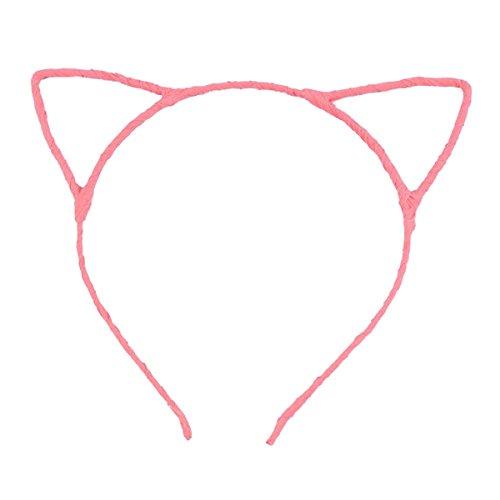 Black & Pink Cat Ears Headband (Pixnor Cute Sexy Womens Attractive Vivid Color Cat Ear HeadBand Hair Band)