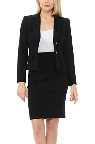 Black Jacket Skirt Suit (Sweethabit Women's Classic Slim Fit Blazer and Skirt Suit Set - Made In USA(3017))