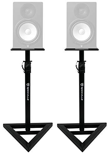 (2) Rockville Adjustable Studio Monitor Speaker Stands For Yamaha HS8 Monitors