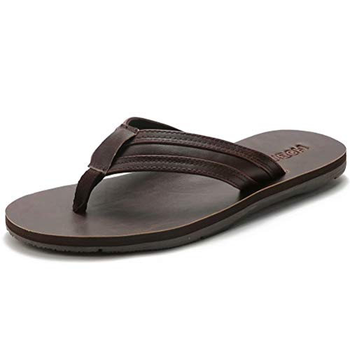 BODATU Men's Flip Flops Athletic Leather Thong Sandals Brown