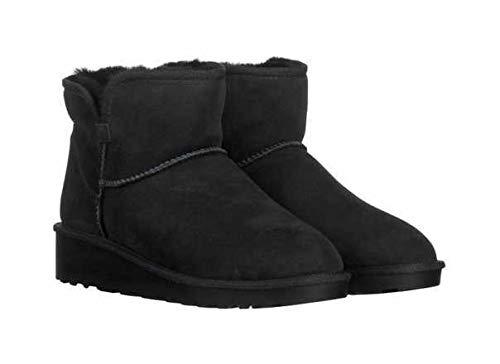 KirklandSignature Ladies' Short Shearling Wedge Boot Black (6)