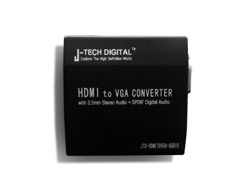 (J-Tech Digital JTD-HDMITOVGA-Audio Premium Quality HDMI to VGA Plus R/L Audio or 5.1 CH Audio Converter)
