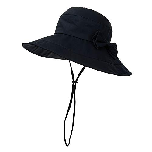 3b31dca9 Large Head Womens Packable Sun Bucket Hat Wide Brim Travel Hiking Fishing  Bonnie SPF Navy Blue 59-60cm