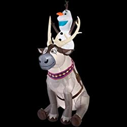 Gemmy Airblown Inflatable Olaf Sitting on Sven The Reindeer...