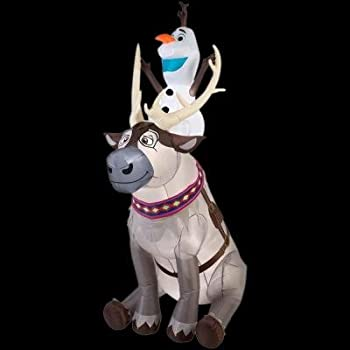 Amazon Com Gemmy Airblown Inflatable Olaf Sitting On Sven