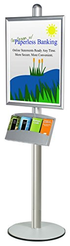 (Silver Satin Finish Aluminum Poster Stand for Displaying 22 x 28-Inch Signs and 4 Pocket Literature Tray, 22 x 73 x 18-Inch, Snap-Open Frame and Non-Glare Lens)