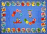 Joy Carpets Kid Essentials Early Childhood Circus Elephant Parade Rug, Multicolored, 5'4