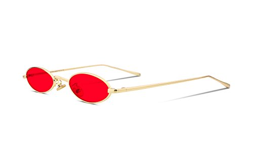 FEISEDY Vintage Slender Oval Sunglasses Small Metal Frame Candy Colors - Metal Glasses Frames Red