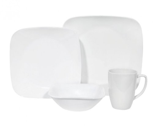 Corelle Square 16-Piece Pure White Design Dinnerware, with S