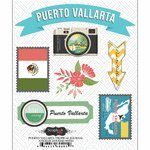 Scrapbook Customs - Tropical Excursions Collection - Doo Dads - Self Adhesive Metal Badges - Puerto Vallarta - Journal - Excursion Collection