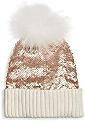 afcd32b7cd6 Bari Lynn Reversible Sequin   Fox Fur Hat Rose Gold