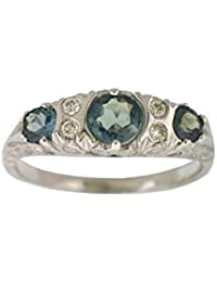 natural alexandrite diamond ring in 14 k white gold