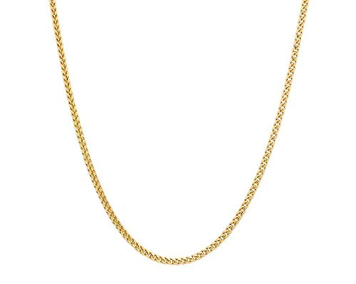 - 10K Gold 1.5MM, 1.9MM Square Franco Link Chain Necklace,10K Gold Franco Box Link Necklace, 10k Gold Necklace, 10k Gold Chain 16-30
