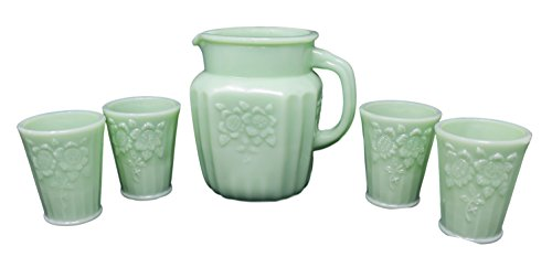 Rhyne and Son Vintage Style Small Water Pitcher and Glass Set (Jadeite)