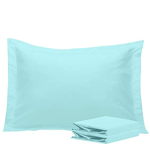 w Shams, Set of 2, 100% Brushed Microfiber, Soft and Cozy, Wrinkle, Fade, Stain Resistant (Standard, Light Blue) (Multi Color Pillow)