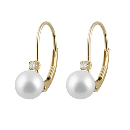 Handpicked AAA+ 6-6.5mm White Round Akoya Saltwater Cultured Pearls and Diamonds 0.06 cttw in 14K Yellow Gold Lever-back Huggie Ball Earrings