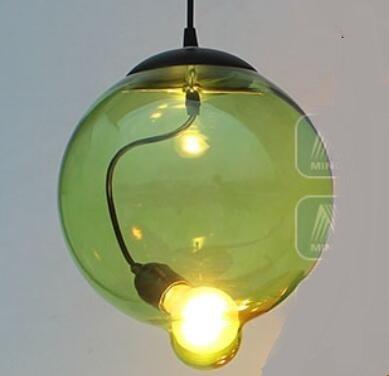 vert D18CM WINZSC Pays d'Amérique Verre Pendentif Lampes Restaurant Salle à Manger personnalité Couleur Verre Pendentif lumières ZH GY208 LO9 (Couleur   vert, Taille   D18CM)