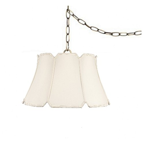 Upgradelights Eggshell Silk 17 Inch Swag Lamp Hanging Light Portable Plug in Lamp Hanging Silk Lamp