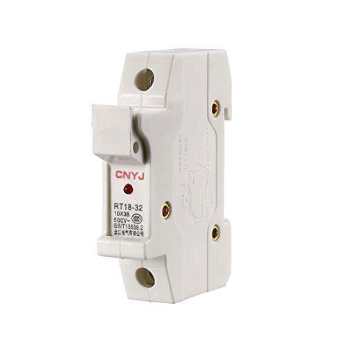 uxcell DIN Rail Mount Fuse Holder Single Pole RT18-32 10mmx38mm with Indicator Light White ()