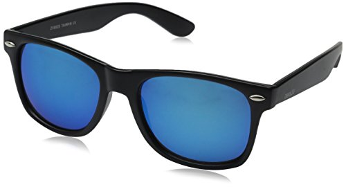 ZeroUV ZV-8025-04 Retro Matte Black Horned Rim Flash Colored Lens Sunglasses, Black/Blue, 58mm