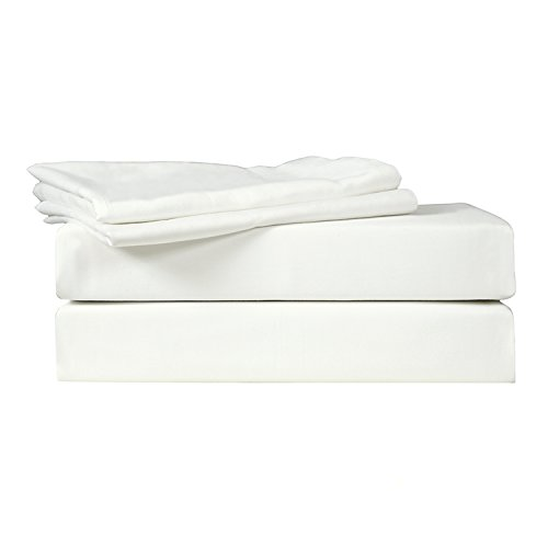 Just Linen 500 Thread Count 100% Egyptian Quality Cotton Sateen, Solid Star White, Queen Bedding 4 Piece Sheet Set with Deep Pocketed Fitted ()