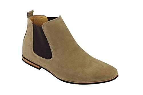 Xposed Mens Suede Chelsea Boots Italian Style Smart Casual Retro Desert Dealer Mid Ankle Shoes [Beige,UK 7 EU (Mens Beige Italian Suede)