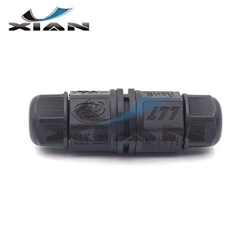 Y'XIAN LLT L20 3Pin Wire Connector IP67 Waterproof Junction Box External Sleeve Coupler Ø 5-9mm Cable Range