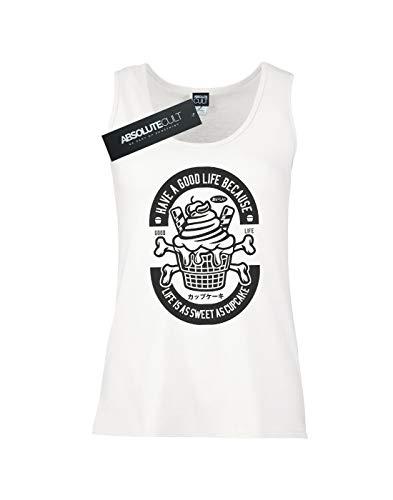 Camiseta Life Cupcake Sin Good Blanco Mangas Mujer Drewbacca wZtE8qRxIW