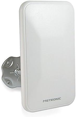 Metronic 415981 - Antena TV TDT Interior/Exterior, para HDTV, UHD, 4K / DVB-T/DVB-T2 / UHF, Filtro 5G, recibe emisoras Radio Dab+, Ganancia 94, ...