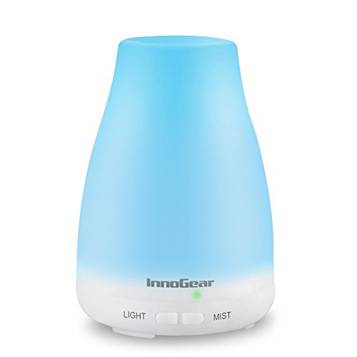 InnoGear 100ml Aromatherapy Essential Oil Diffuser Portable Ultrasonic Cool Mist Aroma Humidifier with Color LED Lights Changing and Waterless Auto Shut-off Function for Home Office Bedroom Room