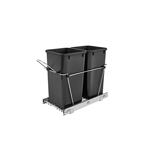 (Rev-A-Shelf - RV-15KD-18C S - Double 27 Qt. Pull-Out Black and Chrome Waste)