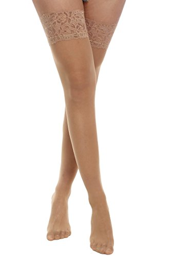 Avidlove Womens Socks Hosiery Reflections Tights Lace Top Sheer 20 Denier Stockings Skin Color L