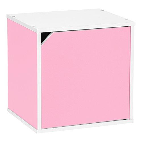 Iris Baku Modular Wood Cube Box With Door  Pink