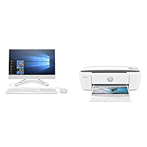 HP 21.5-Inch All-in-One Computer, AMD A4-9125, 4GB RAM, 1TB Hard Drive (22-c0010, White) & OfficeJet 3830 All-in-One…