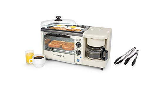 (Nostalgia Bset100Bc 3-In-1 Toaster Ovens, 2 Slice, Bisque With Tongs)