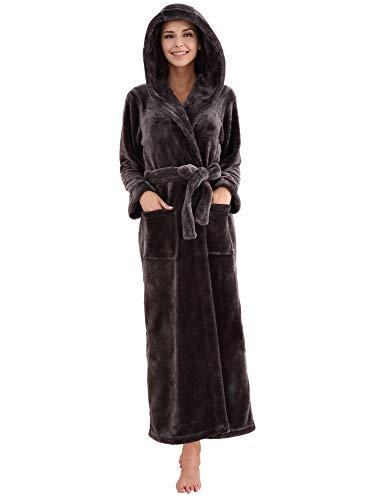 Richie House Women's Fleece Robe with Hood RHWN2233-A-L Charcoal Grey